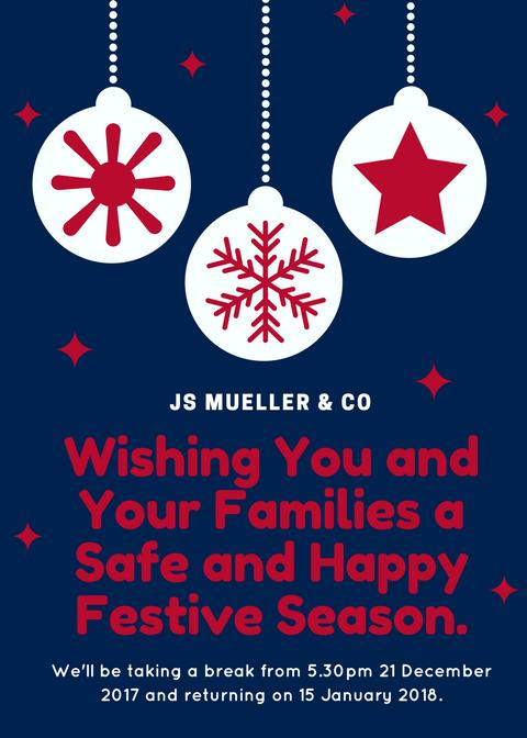 JS Mueller & Co Strata Lawyers 2017 Festive Season Message